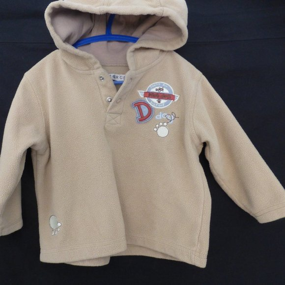 GEORGE, fleece hoodie, 24 months, partial button